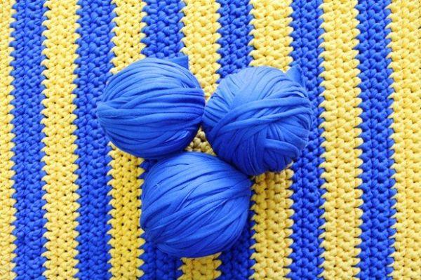 Пряжа трикотажная АСПЕКТ синяя толстая(5-8 мм), Украина